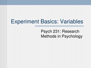Experiment Basics: Variables