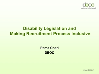 Disability Legislation and  Making Recruitment Process Inclusive