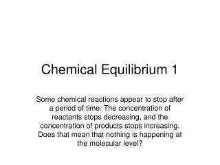 Chemical Equilibrium 1
