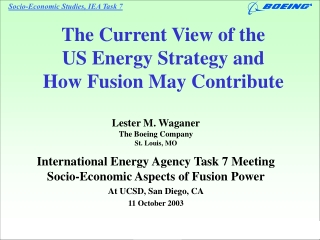 The Current View of the  US Energy Strategy and  How Fusion May Contribute