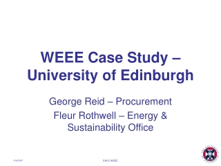 WEEE Case Study – University of Edinburgh