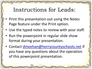 Instructions for Leads: