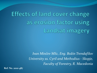 Effects of land cover change as erosion factor using  Landsat  imagery