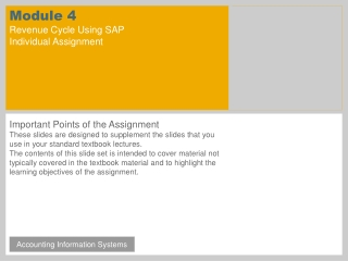 Module 4 Revenue Cycle Using SAP Individual Assignment