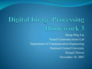 Digital Image Processing Homework 3