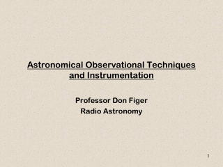 Astronomical Observational Techniques and Instrumentation