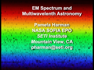 EM Spectrum and  Multiwavelenth  Astronomy Pamela Harman  NASA SOFIA EPO SETI Institute