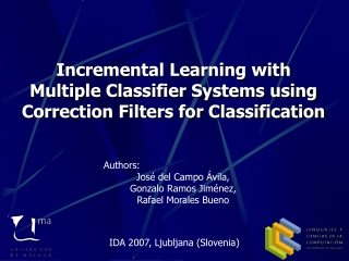 Incremental Learning with Multiple Classifier Systems using Correction Filters for Classification