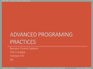 Advanced Programing Practices