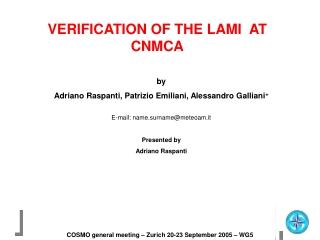 VERIFICATION OF THE LAMI  AT CNMCA