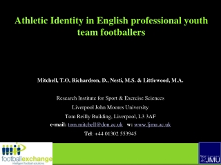 Athletic Identity in English professional youth team footballers