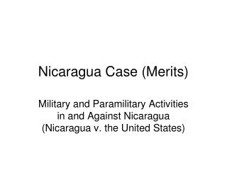 Nicaragua Case (Merits)