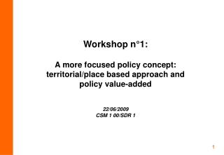 Workshop n°1:
