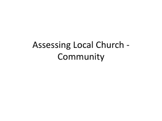 Assessing Local Church - Community