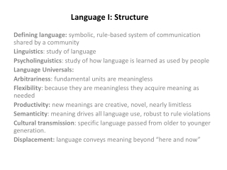 Language I: Structure