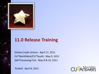 11.0 Release Training