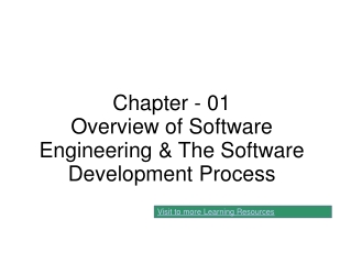 Chapter - 01 Overview of Software Engineering & The Software Development Process