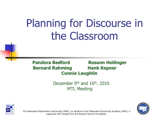 Planning for Discourse in the Classroom