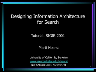 Designing Information Architecture for Search