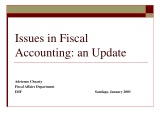 Issues in Fiscal Accounting: an Update