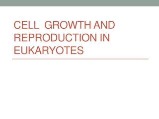 Cell   Growth  and  Reproduction in EUKARYOTES