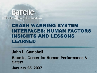 CRASH WARNING SYSTEM INTERFACES: HUMAN FACTORS INSIGHTS AND LESSONS LEARNED