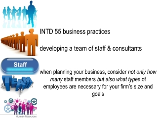 INTD 55 business practices developing a team of staff & consultants