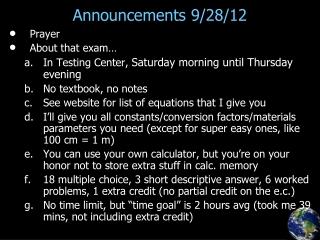 Announcements 9/28/12