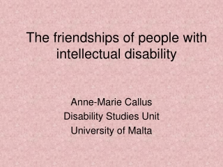 The friendships of people with intellectual disability