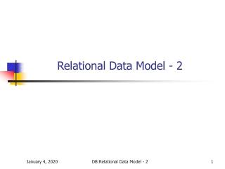 Relational Data Model - 2