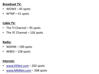 Broadcast TV: WOWX – 45 spots WTNP – 51 spots Cable TV: The TI Channel – 95 spots