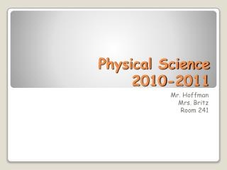Physical Science 2010-2011