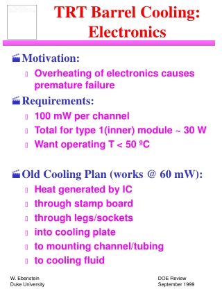 TRT Barrel Cooling: Electronics