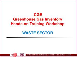 CGE Greenhouse Gas Inventory  Hands-on Training Workshop    WASTE SECTOR