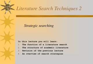Literature Search Techniques 2
