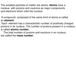 The smallest particles of matter are atoms.  Atoms  have a