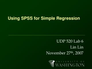Using SPSS for Simple Regression