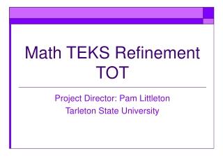 Math TEKS Refinement TOT