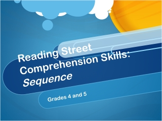 Reading Street Comprehension Skills:  Sequence