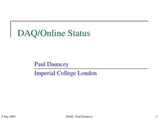 DAQ/Online Status