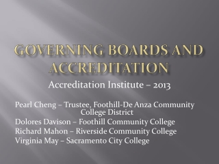 Governing boards and accreditation