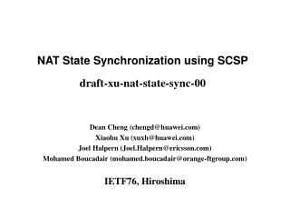 NAT State Synchronization using SCSP draft-xu-nat-state-sync-00