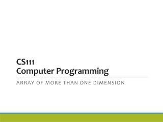 CS111 Computer Programming