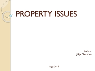 PROPERTY ISSUES