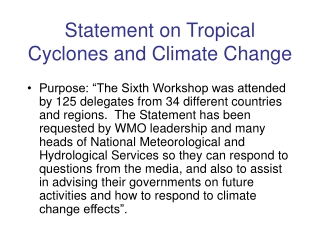 Statement on Tropical Cyclones and Climate Change