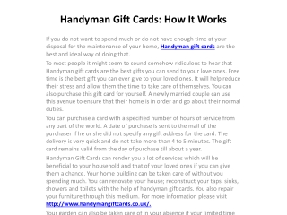 Handyman Gift Cards: How It Works