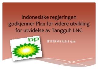 Indonesiske regjeringen godkjenner Plan for videre utvikling