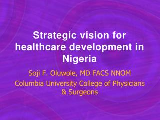 Strategic vision for healthcare development in Nigeria
