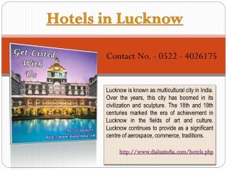 Hotels in Lucknow - Dial Us India