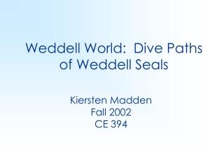 Weddell World:  Dive Paths of Weddell Seals